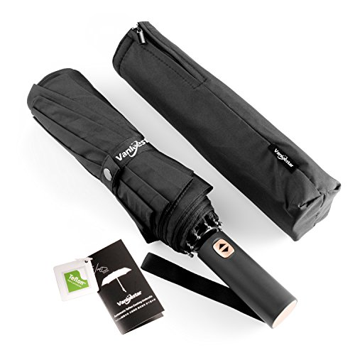 10 Ribs Travel Umbrella Windproof and Fast Drying with Teflon Coated 210t Canopy, lengthened Handle with Champagne Auto Open Close Button, Advanced Zipper Pouch (Black)