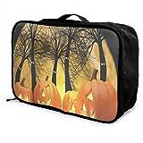 Travel Bags Halloween Pumpkins And Dark Forest Portable Handbag Trolley Handle Luggage Bag