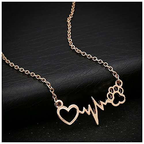 MIXIA Cute Animal Vintage Jewelry Necklaces Silver Love Cats Dogs Puppy PawsPrint Love ECG Heart Heartbeat Necklace Paw Print Pendants Necklace (Gold)