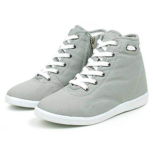 EpicStep Women's Grey Casual Canvas Zip Lace Up High Tops Hidden Wedge Heels Shoes Sneakers 8 M US
