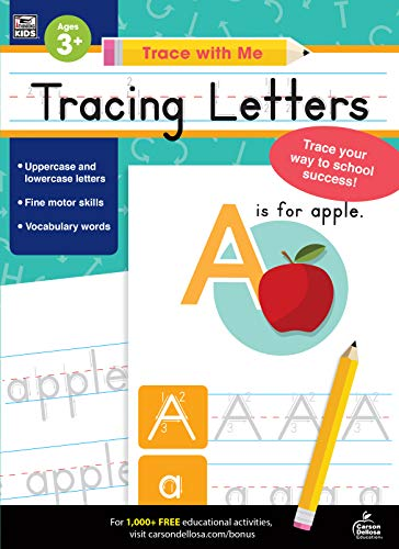 (Carson Dellosa - Tracing Letters Activity Book for Toddlers, Grade PK, K, 1st, 2nd Grade, Paperback, 128 Pages, Ages 3+ (Trace with Me) )