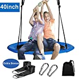 Reliancer 40' Saucer Tree Swing for Backyard Kids w/2 Carabiners 10FT Tree Swing Straps 400lbs Weight Capacity 900D Oxford Weather Resistant Durable Steel Frame Adjustable Ropes to 63inch