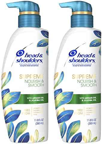 Head & Shoulders Supreme, Scalp Care and Dandruff Treatment Shampoo, with Argan Oil and Jojoba, Nourish and Smooth Hair and Scalp, 11.8 Fl oz Twin pack
