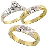Silvercz Jewels Diamond His & Hers 14k Yellow Gold Fn Silver Trio Engagement Wedding Ring Set