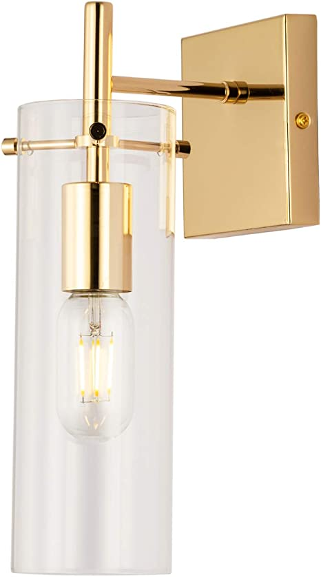 Krasty Modern Metal Wall Sconce Hradwired Wall Light Fixtures Clear Glass Gold Wall Sconces Wall Lamp For Living Room Bedroom Bathroom Hallway Amazon Com