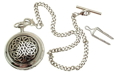 Solid Pewter fronted mechanical skeleton pocket watch - Celtic knot design by Unknown