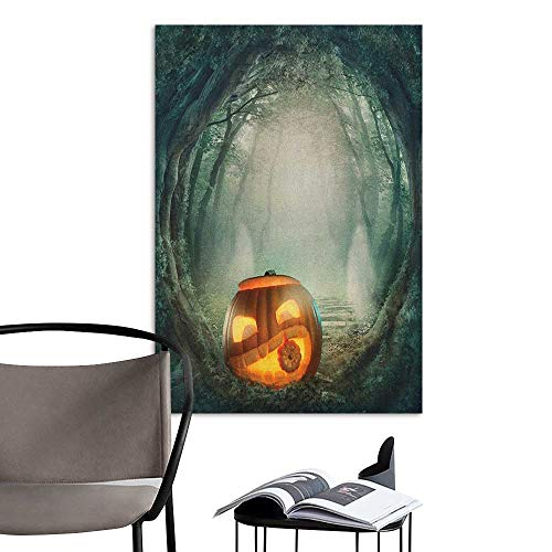 Retro Poster Decorative Painting Halloween Drawing of Scary Halloween Pumpkin Enchanted Forest Mystic Twilight Party Art Orange Teal Stickers for Wall Home W8 x H10