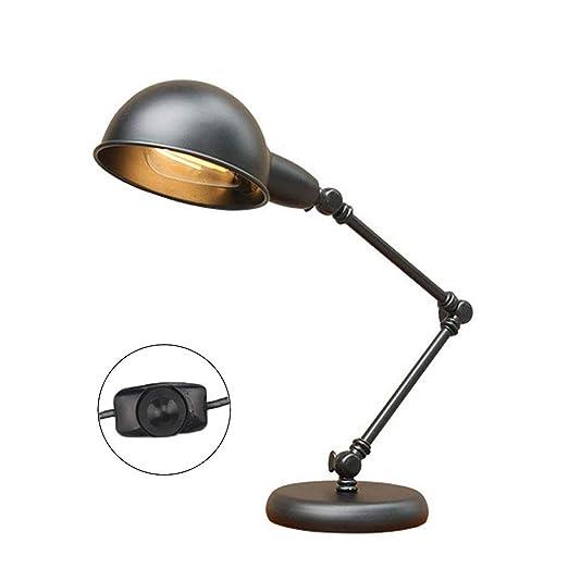 Lámpara de Mesa Industrial, Lámpara de Escritorio Negra, Lámpara ...