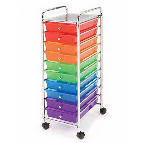 Seville Classics 10-Drawer Organizer Cart, Multi Color by Seville Classics