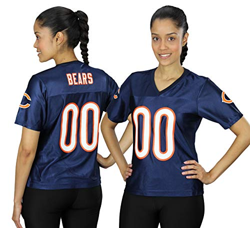 Chicago Bears NFL Womens Team Fashion Dazzle Jersey, Navy (Small, Navy)