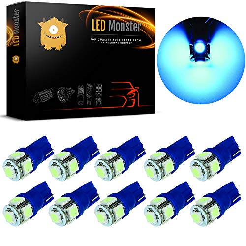 LED Monster 10-Pack Ice Blue Interior Dome Map LED Bulbs 5 SMD Car License Plate Lights LED Lamp 12V 168 194 T10 5-SMD