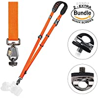 BlackRapid Cross Shot Breathe Camera Strap Orange #361002 - with Extra (2) ZONOZ SMS-5 Neck Strap Mount Screw FastenRz (Bundle)