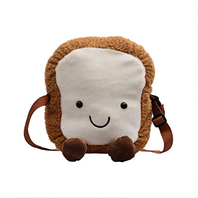 Plush Girl's Bag Cute Toast Shape Women's Chest Bag Shoulder Crossbody Messenger Sling Bag Zipper Pouch Small Travel Wallet Coin Purse for Girls/Child Kawaii Stuffed Pack Great Birthday Christmas Gift: Office Products