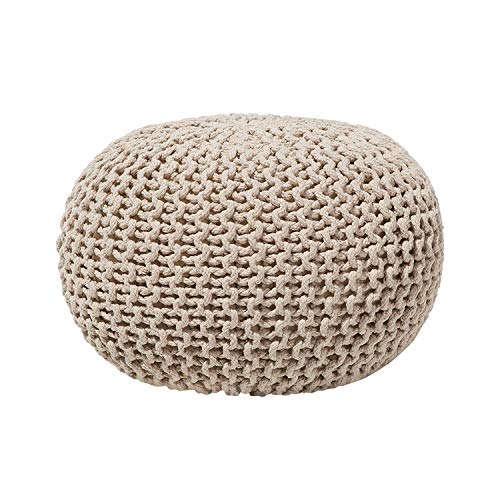 Evomax Hand Knitted Cable Style Dori Pouf - Floor Ottoman - 100% Cotton Braid Cord - Handmade & Hand Stitched - Truly one a Kind Seating - Knitted Round Pouf 18x18x16 (Beige)