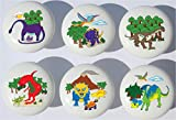 Dinosaur Drawer Pulls / Dinosaur Ceramic Cabinet Drawer Knobs / Set of 6