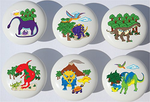 (Dinosaur Drawer Pulls/Dinosaur Ceramic Cabinet Drawer Knobs/Set of 6)