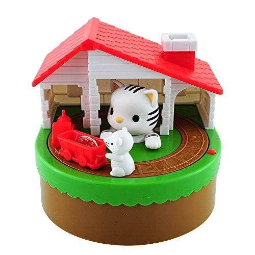 COTTONTAIL Novelty Kitty and Mouse Robotic Coin Saver Box Bank Change Keeper