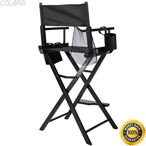 COLIBROX--Professional Makeup Artist Directors Chair Wood Light Weight Foldable Black New Professional Makeup Artist Directors Chair Aluminum Frame Light Weight and Folding Black by COLIBROX