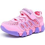 HOBIBEAR Girls Outdoor Strap Sneakers Athletic Running Shoes AS3209(1M,Pink)