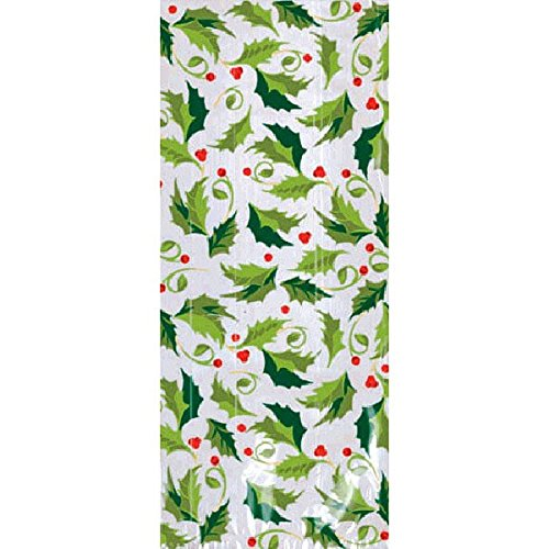 Swirling Holly Leaves Multicolored Plastic Party Bags, 20 Ct. | Supply ()