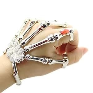 JoJo & Lin Silver Gun Black Skull Finger Hand Bond Bracelet Goth Skeleton Bones Bangle (Silver Tone)