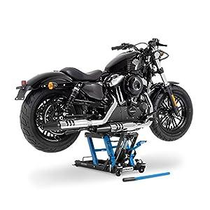 Cric Lève Moto pour Harley Davidson Road King Classic (FLHRC/I) Hydraulique á Ciseau ConStands Midlift L noir-bleu