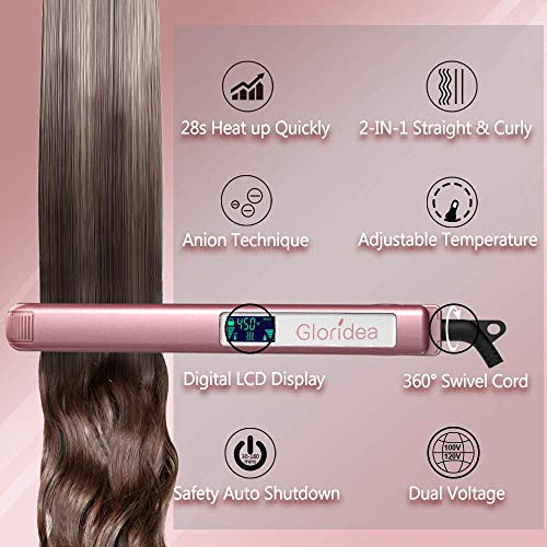 Flat Iron Titanium 1 Inch Professional Hair Straightener with Adjustable Temperature 170-450 ℉ Suitable for All Hair Types Rose Pink Straightener Heat up Fast and Dual Voltage Gloridea