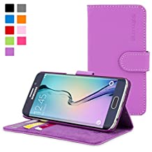 Galaxy S6 Edge Case, Snugg Purple Leather Flip Case [Card Slots] Executive Samsung Galaxy S6 Edge Wallet Case Cover and Stand [Lifetime Guarantee] - Legacy Series