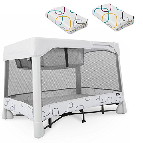 4Moms Breeze Classic, Light Grey With Playard & Bassinet Sheet Bundle