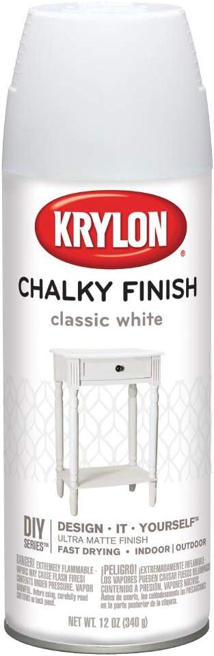 Krylon K04101000 Spray Paint, Aerosol, Classic White, 12 Oz