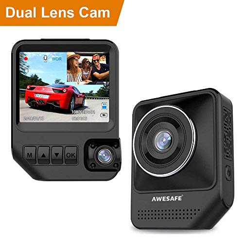 Dual Dash Cam for Cars 1080P Front and Rear Inside Cameras AWESAFE 2.31'' 170°Wide Angle Dashboard Camera Recorder with Night Vision,G-Sensor, Loop Recording, WDR, Parking Mode by AWESAFE