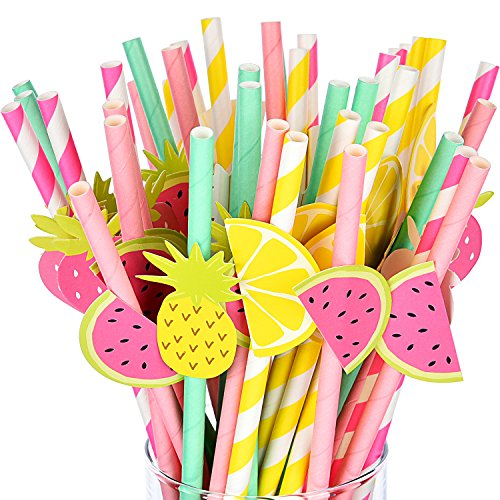 BBTO 40 Pieces Fruit Paper Straw Cocktail Drinking Straws for Hawaiian Luau Party and Baby Shower, 4 Styles