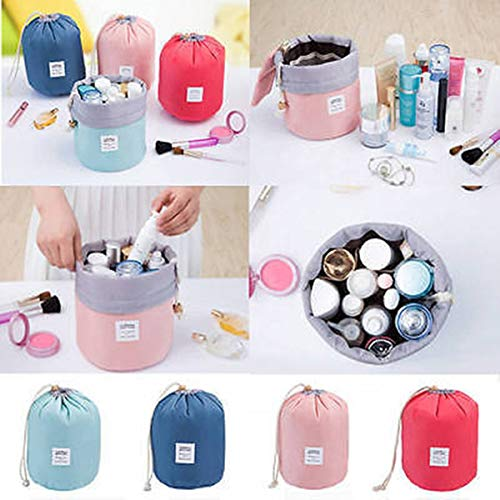 Travel Cosmetic Bags Barrel Makeup Bag,Women&Girls Portable Foldable Cases,EUOW Multifunctional Toiletry Bucket Bags Round Organizer Storage Pocket Soft Collapsible(Rosered)