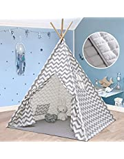 Kids Teepee Tent for Boys, Children with Mat & Lights String- Play Tent for Indoor & Garden, (Grey Chevron 165cm Tall)