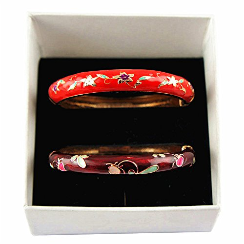 UJOY Fashion Cloisonne Bracelet Gold Colorful Enameled Metal Cuff Hinge Bangles Jewelry for Women Girls Gift 55A84-B09 red-WineRed