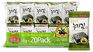 Daechun(Choi's1) Seaweed Snacks, (Pack of 20), Original, Sea Salt, Green Tea Powder, Product of Korea