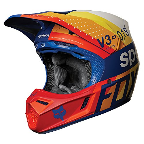 6. 2018 Fox Racing V3 Draftr Helmet-Blue-L