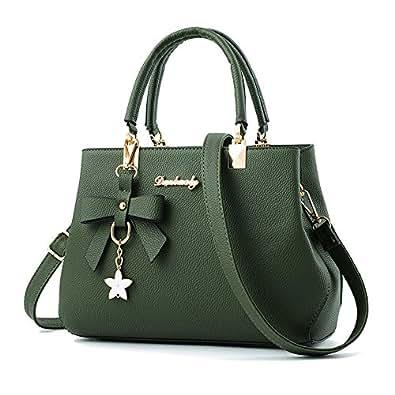 Designer Womens Bowknot Handbags Satchel Shoulder Bags Female Casual Tote Bag (army green)