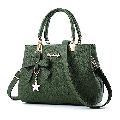 Designer Womens Bowknot Handbags Satchel Shoulder Bags Female Casual Tote Bag (army green) (Casual Green Handbag)