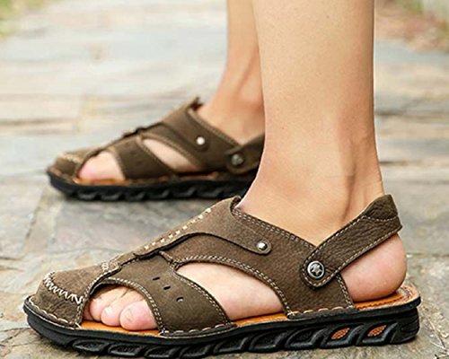 Wandern ZHANGM Casual Sandalen Ledersandalen Fahr Schuhe Sommer Atmungsaktiv Schweißabsorbierend Mode Khaki Outdoor Hausschuhe Zwei Sandalen Herren Tragen Bergsteigen v7waxqUqZ