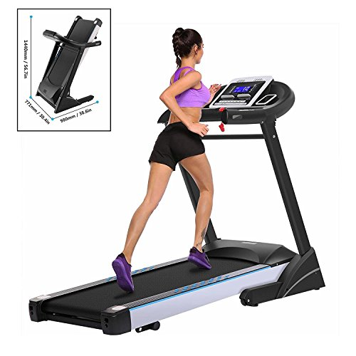 Leoneva 3.0HP Folding Electric Treadmill with LCD Display, Fitness Running Machine for Gym/Home(US Stock)