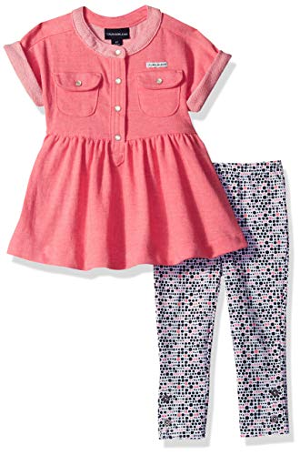 New Pink 2 Piece - Calvin Klein Girls' Toddler 2 Pieces Legging Set Pants, Pink Heather/Print, 3T