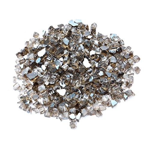 (Onlyfire Reflective Fire Glass for Natural or Propane Fire Pit, Fireplace, or Gas Log Sets, 10-Pound, 1/2-Inch, Bronze)
