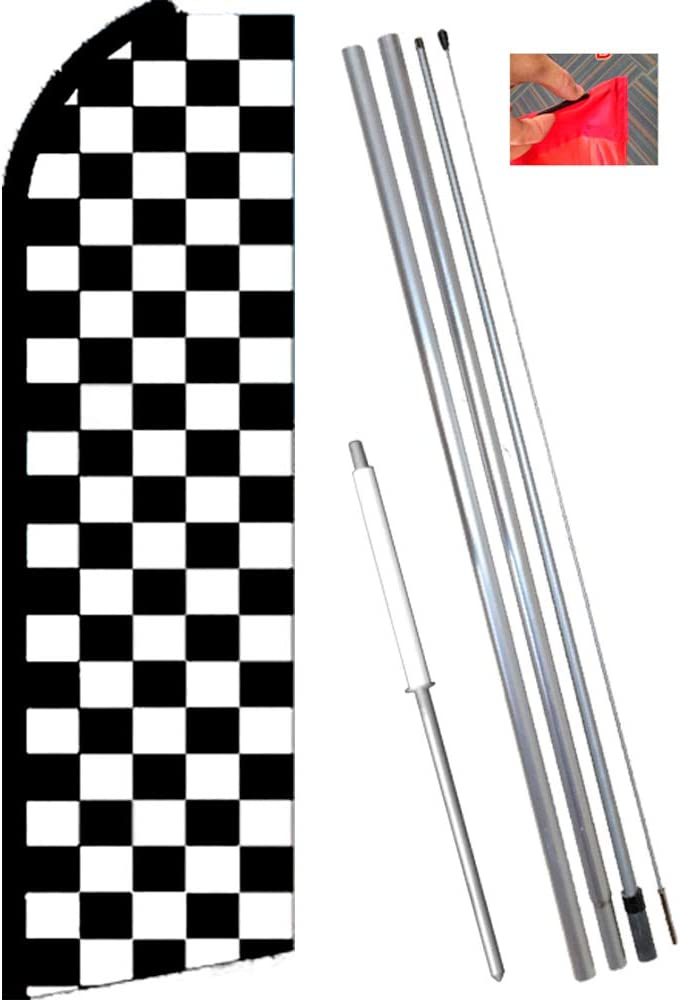 Pack of 2 CHECKERED Black White Racing Swooper Banner Feather Tall Flag