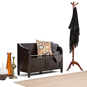 Simpli Home Connaught Solid Wood Entryway Storage Bench, Dark Chestnut Brown