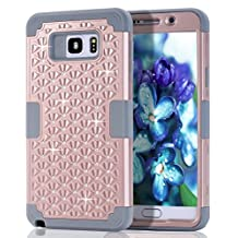 Galaxy Note 5 Case, Note 5 Case, Asstar Heavy Rubber Case Cover for Samsung Galaxy Note 5 3 in 1 Hard PC+ Soft Silicone Bling Impact Protection Heavy Duty Shockproof Full-Body Protective (Rose gold)