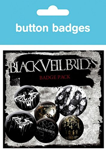 4 X 25mm /& 2 X 32mm Buttons Button Pack 1art1 Set: Black Veil Brides Inklusive 1x /Überraschungs-Sticker Darkest 15x10 cm