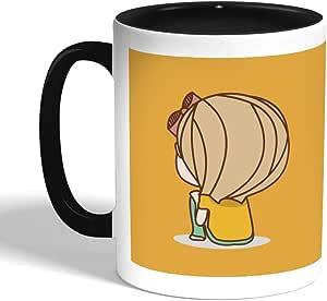 كوب سيراميك للقهوة بتصميم وقت التفكير، اسود