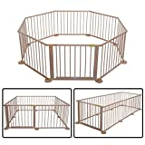 8 Panel Narural Wooden Safety Playpen Baby Children Indoor/Outdoor Divider With Ebook