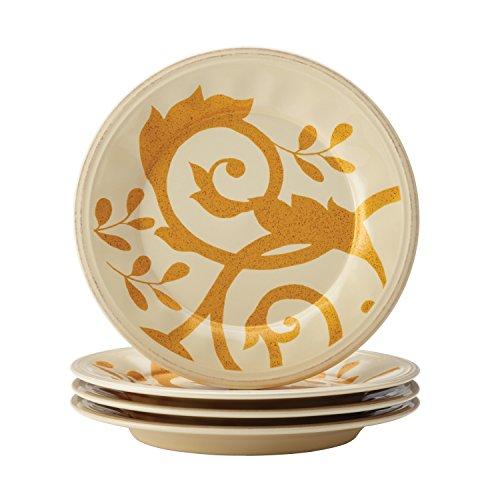 Rachael Ray 57639 Dinnerware Scroll Salad Plate Set, 4-Piece, Almond Cream